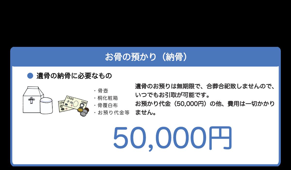 お骨のお預かり(納骨)お預かり代金は50000円
